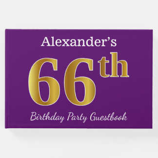 Purple, Faux Gold 66th Birthday Party; Custom Name Guest Book