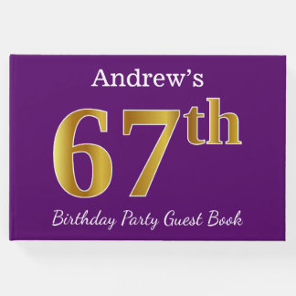 Purple, Faux Gold 67th Birthday Party; Custom Name Guest Book