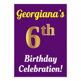 Purple, Faux Gold 6th Birthday Celebration + Name Card