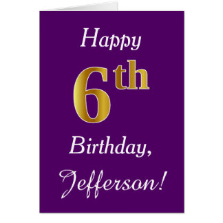 Purple, Faux Gold 6th Birthday + Custom Name Card