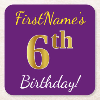 Purple, Faux Gold 6th Birthday + Custom Name Square Paper Coaster