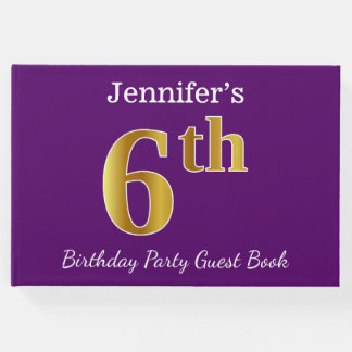 Purple, Faux Gold 6th Birthday Party + Custom Name Guest Book