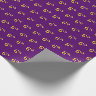 Purple, Faux Gold 6th (Sixth) Event Wrapping Paper
