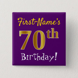 Purple, Faux Gold 70th Birthday, With Custom Name 15 Cm Square Badge