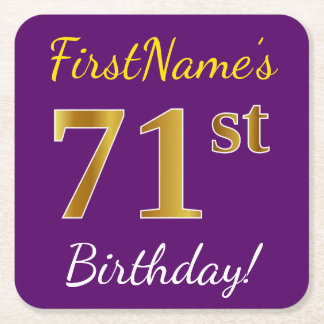 Purple, Faux Gold 71st Birthday + Custom Name Square Paper Coaster