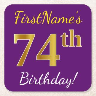 Purple, Faux Gold 74th Birthday + Custom Name Square Paper Coaster