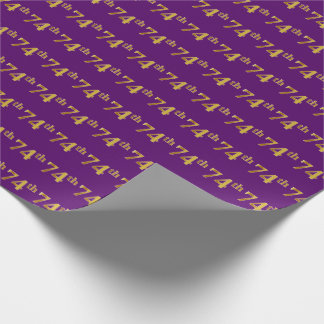 Purple, Faux Gold 74th (Seventy-Fourth) Event Wrapping Paper