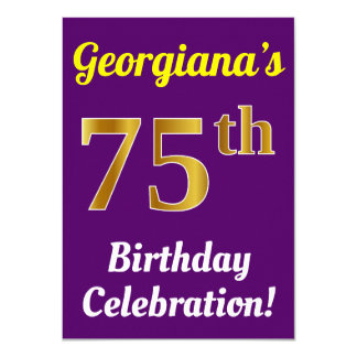 Purple, Faux Gold 75th Birthday Celebration + Name Card
