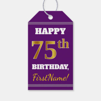 Purple, Faux Gold 75th Birthday + Custom Name Gift Tags