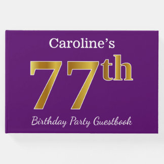Purple, Faux Gold 77th Birthday Party; Custom Name Guest Book