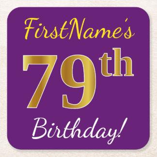Purple, Faux Gold 79th Birthday + Custom Name Square Paper Coaster
