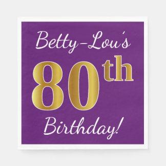 Purple, Faux Gold 80th Birthday + Custom Name Disposable Napkin