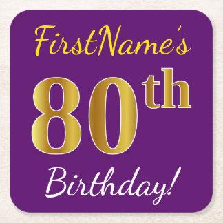 Purple, Faux Gold 80th Birthday + Custom Name Square Paper Coaster