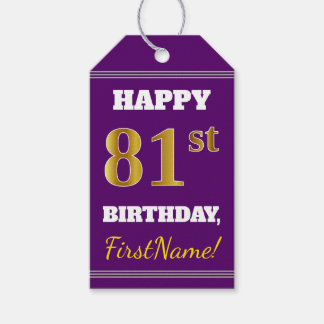 Purple, Faux Gold 81st Birthday + Custom Name Gift Tags