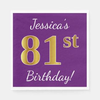 Purple, Faux Gold 81st Birthday + Custom Name Paper Napkins