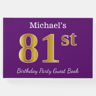 Purple, Faux Gold 81st Birthday Party; Custom Name Guest Book