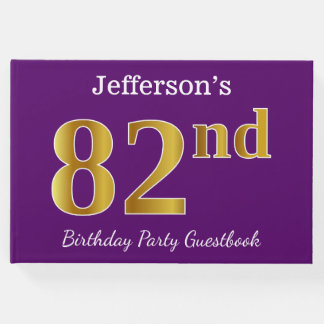Purple, Faux Gold 82nd Birthday Party; Custom Name Guest Book