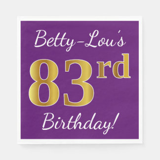 Purple, Faux Gold 83rd Birthday + Custom Name Disposable Napkins