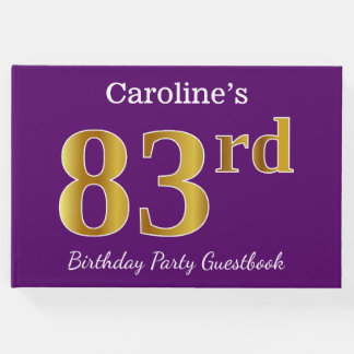 Purple, Faux Gold 83rd Birthday Party; Custom Name Guest Book