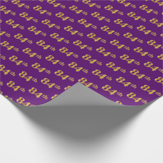 Purple, Faux Gold 84th (Eighty-Fourth) Event Wrapping Paper