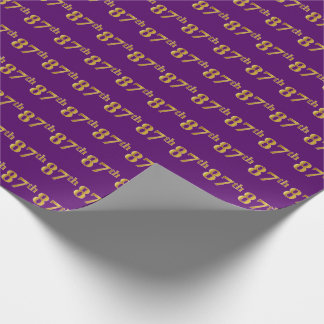 Purple, Faux Gold 87th (Eighty-Seventh) Event Wrapping Paper