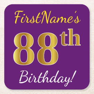 Purple, Faux Gold 88th Birthday + Custom Name Square Paper Coaster