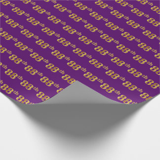 Purple, Faux Gold 88th (Eighty-Eighth) Event Wrapping Paper