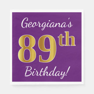 Purple, Faux Gold 89th Birthday + Custom Name Paper Napkin