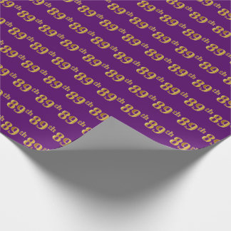 Purple, Faux Gold 89th (Eighty-Ninth) Event Wrapping Paper