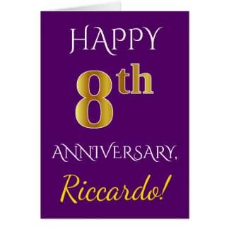 Purple, Faux Gold 8th Wedding Anniversary + Name Card