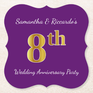 Purple, Faux Gold 8th Wedding Anniversary Party Paper Coaster