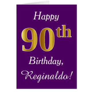 Purple, Faux Gold 90th Birthday + Custom Name Card