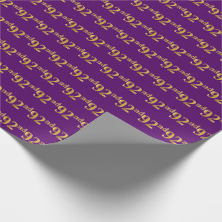 Purple, Faux Gold 92nd (Ninety-Second) Event Wrapping Paper