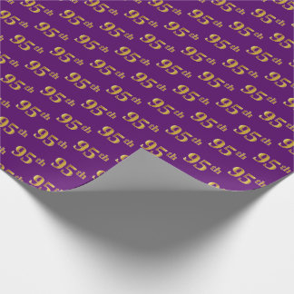 Purple, Faux Gold 95th (Ninety-Fifth) Event Wrapping Paper