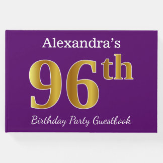 Purple, Faux Gold 96th Birthday Party; Custom Name Guest Book