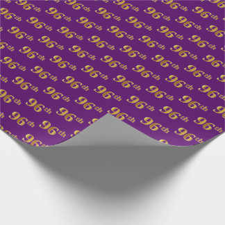 Purple, Faux Gold 96th (Ninety-Sixth) Event Wrapping Paper