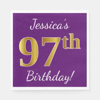Purple, Faux Gold 97th Birthday + Custom Name Paper Serviettes