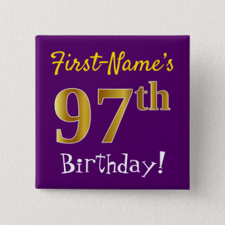 Purple, Faux Gold 97th Birthday, With Custom Name 15 Cm Square Badge