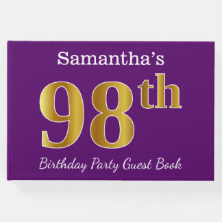 Purple, Faux Gold 98th Birthday Party; Custom Name Guest Book