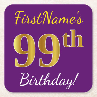 Purple, Faux Gold 99th Birthday + Custom Name Square Paper Coaster