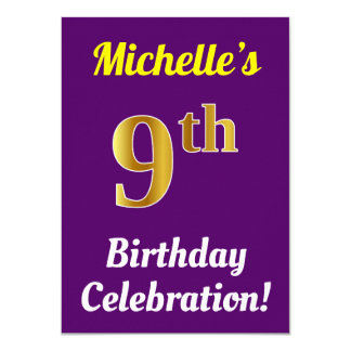 Purple, Faux Gold 9th Birthday Celebration + Name Card