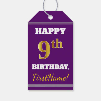 Purple, Faux Gold 9th Birthday + Custom Name Gift Tags