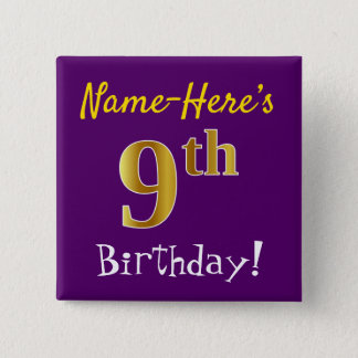 Purple, Faux Gold 9th Birthday, With Custom Name 15 Cm Square Badge