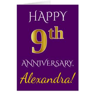 Purple, Faux Gold 9th Wedding Anniversary + Name Card