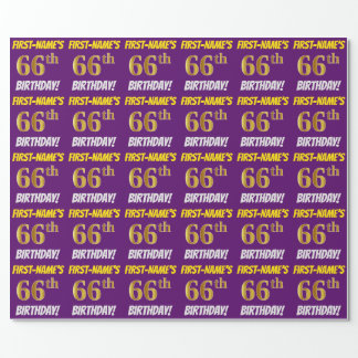 """Purple, Faux/Imitation Gold, """"66th BIRTHDAY"""" Wrapping Paper"""