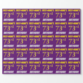 """Purple, Faux/Imitation Gold, """"73rd BIRTHDAY"""" Wrapping Paper"""