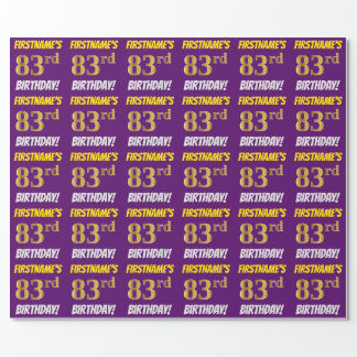 """Purple, Faux/Imitation Gold, """"83rd BIRTHDAY"""" Wrapping Paper"""