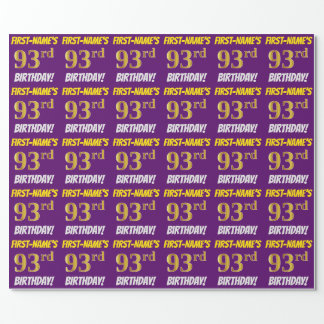 """Purple, Faux/Imitation Gold, """"93rd BIRTHDAY"""" Wrapping Paper"""