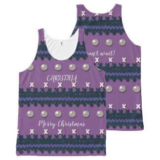 Purple Faux Knitted Ugly Christmas Design All-Over Print Singlet