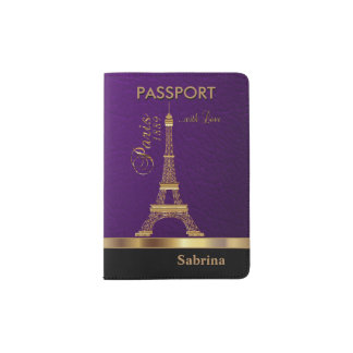 Purple Faux Leather with Gold Paris Accent Passport Holder